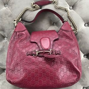 Gucci Emily Guccissima Leather Hobo Bag ruby
